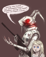 white rabbit and alice by zombieless