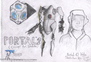 Portal 2 Concept Sketches by JTtheLlama