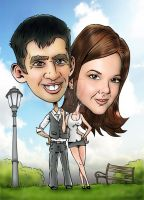Wedding day caricature 2. by Tomster84