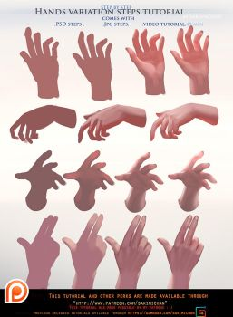 Painted Hands variation steps tutorial pack .promo by sakimichan