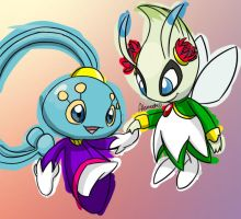 Manaphy and Celebi by skeletall