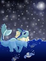Vaporeon snowfall by lizspit