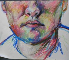 oil pastel self portrait by gingerchan