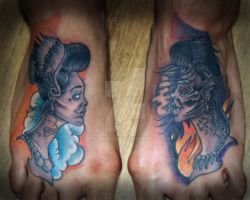 Good Vs Evil Foot Tattoo by theJorell