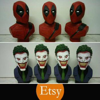 Deadpool and Joker busts up on my Etsy shop! by creaturecreationUK