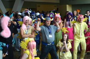 BronyCon 2013 - Fluttershy + Ironwill by AleriaVilrath