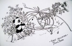 Forest Helicopter-Dino and Panda by MelodicInterval