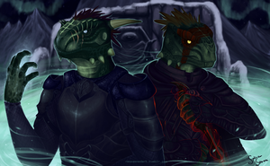 Skyrim: Argonian Brothers by Becken95