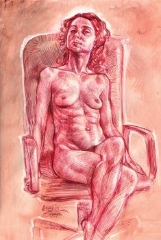 Red Ball Point Pen Of Nude by malachisimonyan