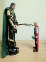 King Loki making Thor his minion by JDLuvaSQEE