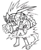 Omega-Xis and Geo : Lineart by Hades-O-Bannon
