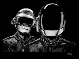 Daft Punk Drawing by LethalChris