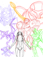 Metroid Prime, rough outline by LightDeity