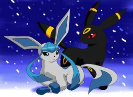 Snowday - Umbreon and Glaceon by Alaena-H