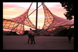 Sunset Olympiapark Munich by atyclb