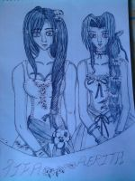 Aerith and Tifa prom dresses by lustyvampire
