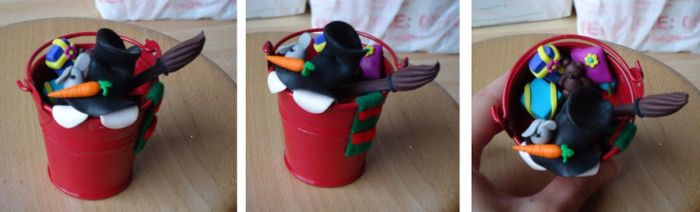 Christmas Bucket - Snowman by Dragonfeelers