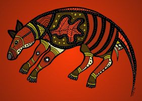 Aboriginal Art Thylacine by thylobscene