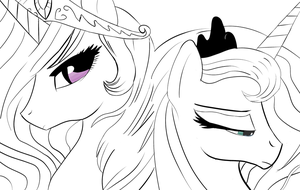 Two sisters Lineart by onlyAgam3r