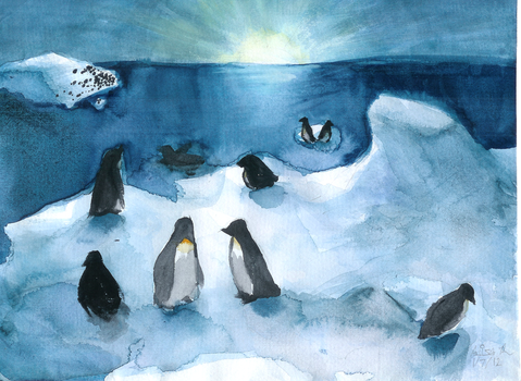 Penguins of the Antarctic by Alichee