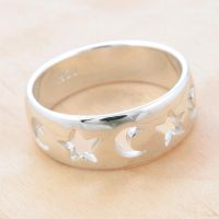 Moons and Stars Ring by metalsmitten