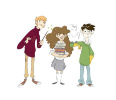 Harry Hermione and Ron by Lelpel