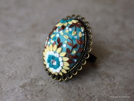 Polymer Clay Applique Ring in Teal and Yellow by CharanCreations