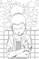 Shikamaru Lineart by CrypticRiddlers