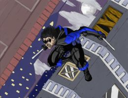 Nightwing Descends Color by A-Train409
