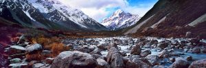 Hooker River and Mt Cook by saxtim
