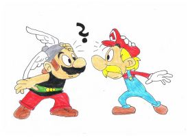 Mario the Gaul and Asterix the Plumber by Nawel249