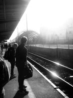 Waiting for a train by wawrzino
