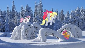 CMC Play With Derpy In The Snow by Macgrubor