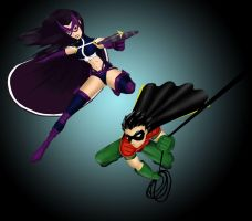 Robin and Huntress by RightHandOfDoom