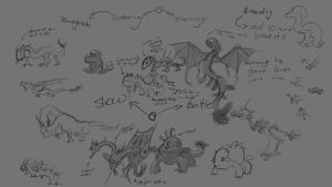 Dragon critter Concepts by Captain-Reindeer