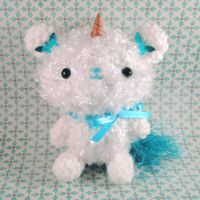 Teal Unicorn Bear Sprite by amigurumikingdom