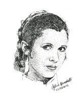 Leia Organa Pointillism by AngelinaBenedetti