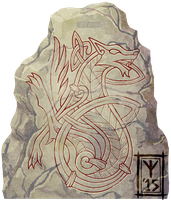 Norse Wolf Runestone by TheScreamingNorth