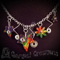 Handcrafted Polymer Clay Rainbow Ivy Necklace by Gempai-Creations