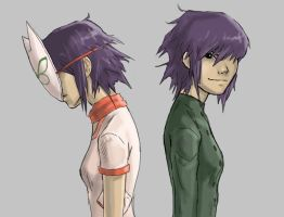 Noodle and Cyborg Noodle by ab-lynx