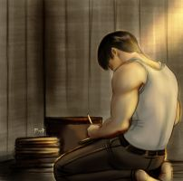 Bucky's writing by pain-art