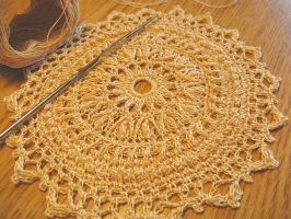 High Texture Doily in Hand Dyed Chamois by doilydeas