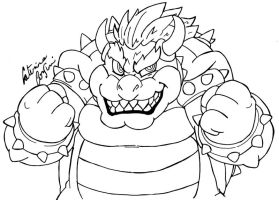 Bowser lineart by SuperCaterina