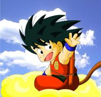 Kid Goku on Nimbus by eggmanrules