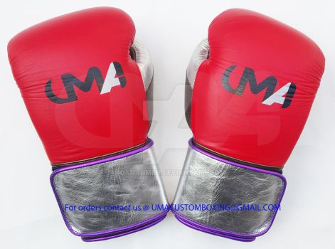 UMA BOXING GLOVES RED BRASS SILVER by MianAhmed