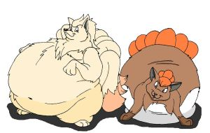 fat Ninetails and Vulpix by HectortheWolf