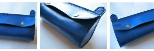 Blue Leather Clutch by passbyguy