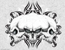 Three Headed Skull by Oblivion-design