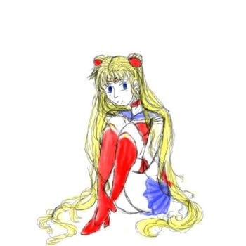 sailor moon sketching/coloring by minnymoon1360