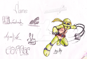 Angi the ninja turtle coloured + logotypes by Angi-Shy